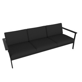 Eos Three Seater Sofa, Black