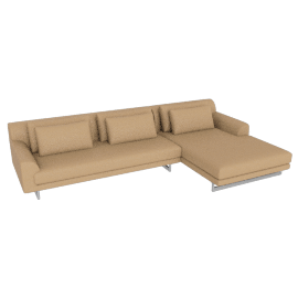 Lecco Sectional with Right Chaise, Kalahari Leather Sand with Aluminium Base