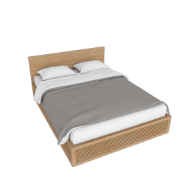 Line Storage Queen Bed, Oak
