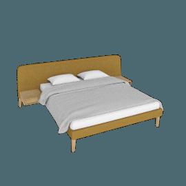 Parallel Wide Queen Bed, Boucle - Ochre