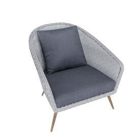 Rattatan Arm Chair, Grey