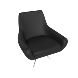Noomi Swivel Chair , Black Leather