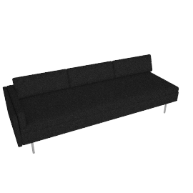 Bolster Sofa Left Arm, Capri Graphite with Brushed Stainless leg