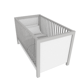 Olivia Cot with Drawer, White/Grey