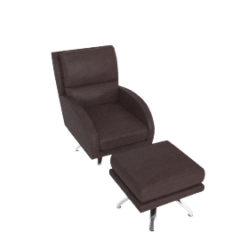Alfred Swivel Chair and Footstool, Premium Leather