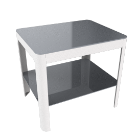 Min Bedside Table with Shelf - White