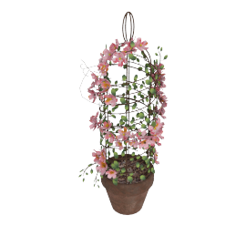 Peach Blossom with Bird cage on Pot 47 cms