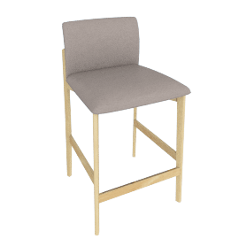 Contour Counter Stool, Kalahari Leather Grey with Oak Leg