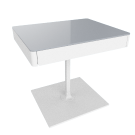 Min Bedside Table with Pedestal Base - White
