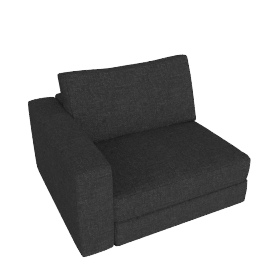 Reid One-Arm Chair in Fabric, Left