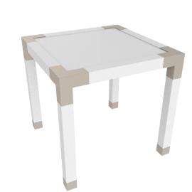 Hazel End Table, HG White/Gold