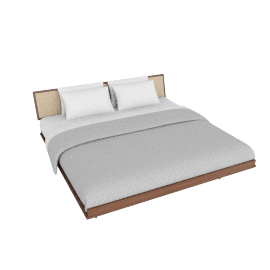 Nelson Thin Edge King Bed with Cane Headboard, Taper Legs, Walnut