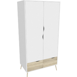 DELTA WARDROBE WITH 2 DOORS + 2 DRAWERS by tvilum