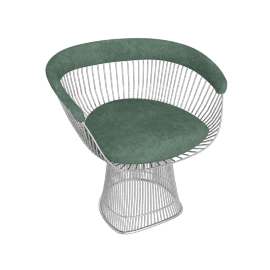 Platner Armchair, Nickel frame and Knoll Velvet - Celadon