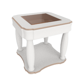 Beverly End Table, HG Wht/Rose Gold