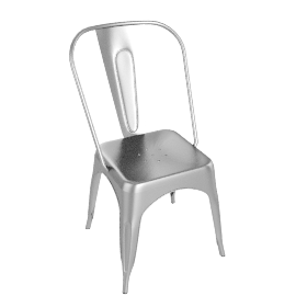 "Tolix ""A"" Chair, Raw Steel"