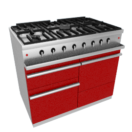Westahl WG1052GE Dual Fuel Cooker, Chinese Red
