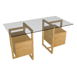 Staten Small Glass Desk with Oak Trestle and 2 Drawer Packs