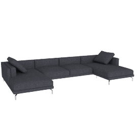 Como Double-Chaise Sectional in Fabric, Lama Tweed, Coal