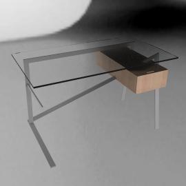Homework Desk, Single Drawer - Powdercoat - Oak