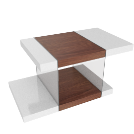 Steps Coffee Table, HG White/Walnut