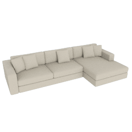 Reid Sectional Chaise Left in Fabric, Ivory