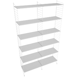String Floor Shelving - 2 Bay - 24'', White