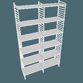 String Floor Shelving - 2 Bay - 24'', White