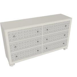 Taj 6 Drwr Dresser-Pearl Bge/Ant.Silver