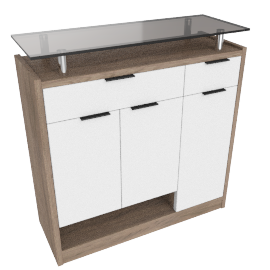 Dublin 22Pairs Shoe Cabinet, HG White/ Grey Oak