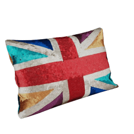 Sequinned Union Jack Cushion, Multicoloured, One size