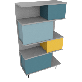 Fowler tall shelving unit, multicolor