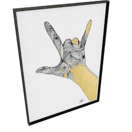 Sign Language III by KelliEllis - 36''x48'', Black