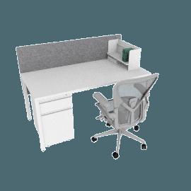 Advanced Bundle, White Desk Finish, Heathered Grey Screen