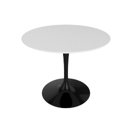 Saarinen Round Dining Table 35'', Laminate - Black.White