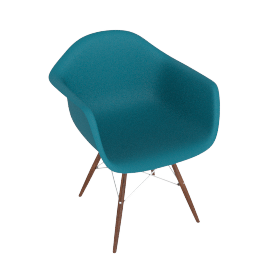 Eames Molded Plastic Dowel-Leg Armchair (DAW), Peacock Blue with Chrome Base and Walnut Leg