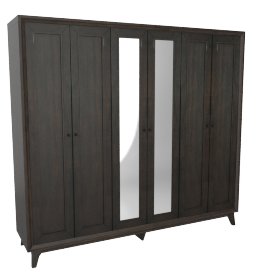Lyra 6-Door Wardrobe, Dark Brown