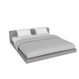 Softwall King Bed in Fabric, Fabric Ducale Wool, Light Grey