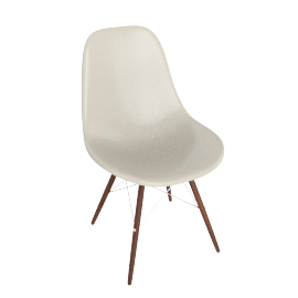 Eames Molded Fiberglass Dowel-Leg Side Chair (DFSW), Parchment with Chrome Base and Walnut Leg