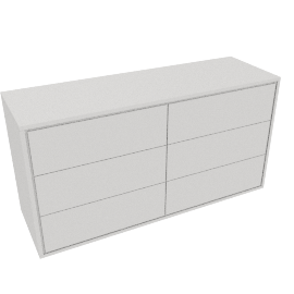 Napoli Gloss 6 Drawer Chest, White