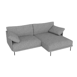 Camber Compact Sectional Onyx Legs Right, Lama Tweed Heather