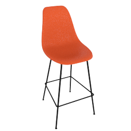 Eames Molded Plastic Barstool, DSHBX, Red Orange with White Base