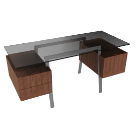Homework Desk, Double Drawer - Chrome - Walnut