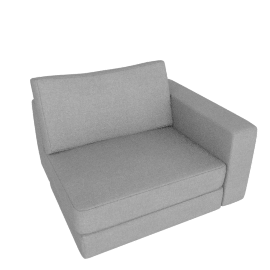 Reid One-Arm Chair Right, Ducale Wool - Light Grey