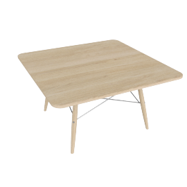 Eames Square Coffee Table, Ash Top, Ash Dowel, White Wire