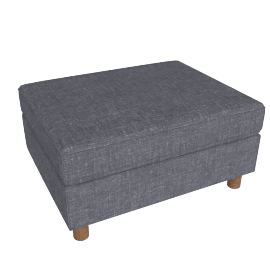 Lispenard Ottoman, Pebble Weave Pumice with Walnut Leg