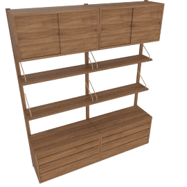Royal System Shelving Unit B with Drawers, and Top Sliding Door Cabinets, Walnut