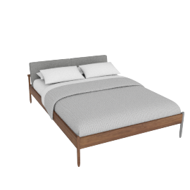 Raleigh Queen Bed, Ducale Wool Light Grey Walnut Frame