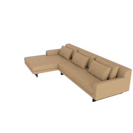 Lecco Sectional with Chaise, Kalahari Leather - Sand with Black Base