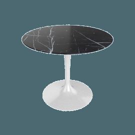 Saarinen Round Dining Table 35'', Coated Marble 1 - White.Nero